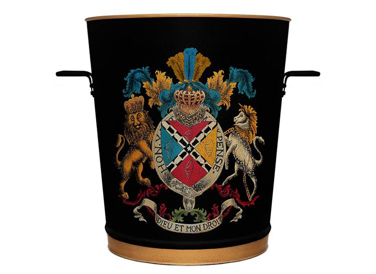 Vedpotta mindre/ kruka större, helt i plåt, handmålad med emblem