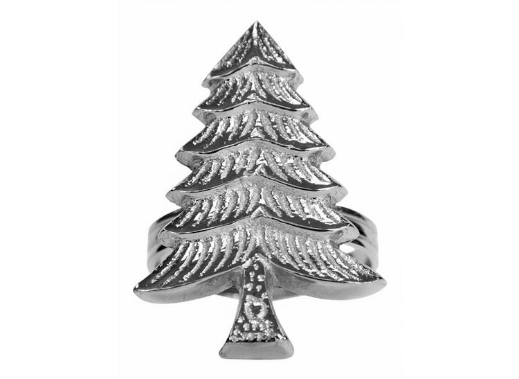 Servettring med julgran gjord i aluminum som nickelpläterats