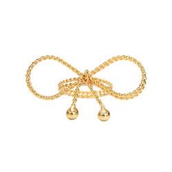 Servettring i guldpläterat stål flätad rosett knuten