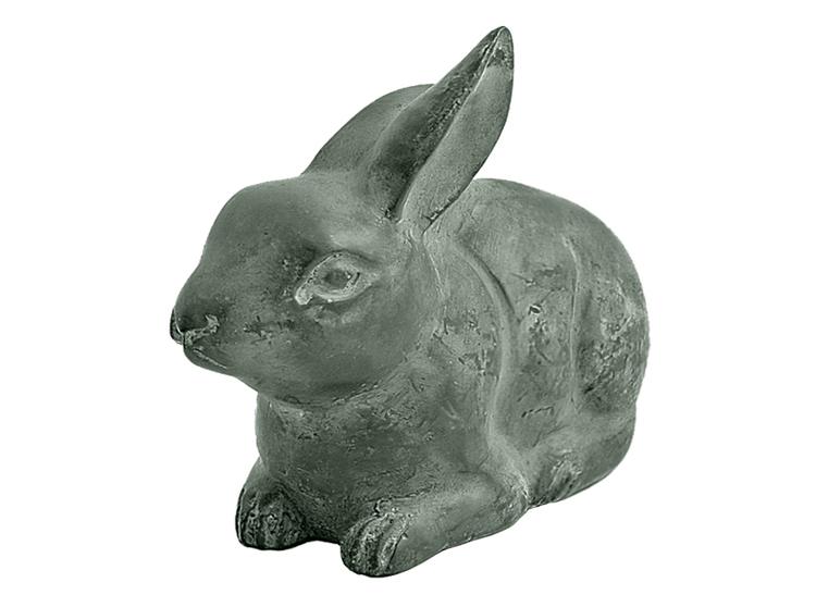 Kanin i brons, liten sandgrön, matt, 9 cm