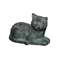 Katt gjord i brons, liggande, 13 cm