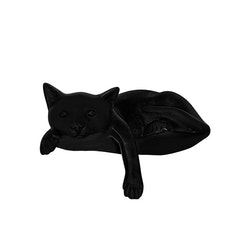 Katt i brons, nyfiken, 15 cm, med tass över kant, svart