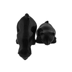 Katt i brons, nyfiken, 15 cm, stående över kant, svart