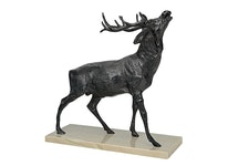 Hjort i brons på marmorplatta, 27 cm