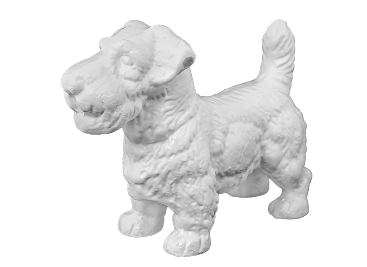 Hund för utomhusbruk, aluminium som epoxlackerats, vit, med längd 34 cm