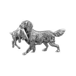 Hund med hare, 12 cm i sliver pläterad mässing