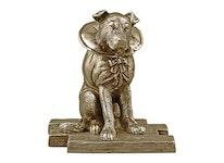 Hund i brons, 11 cm, klädd för fest eller...?