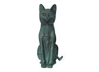 Katt, sittande, 45 cm, grönpatinerad