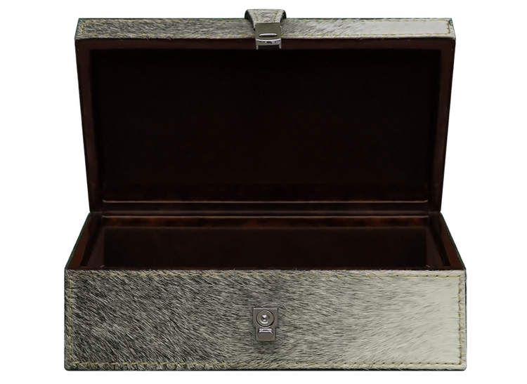 Box, pälsklädd med inredning i velour,  19,5 cm x 7,5 cm x 11 cm