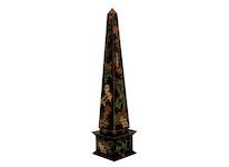 Obelisk med kineserier, handmålad, svart