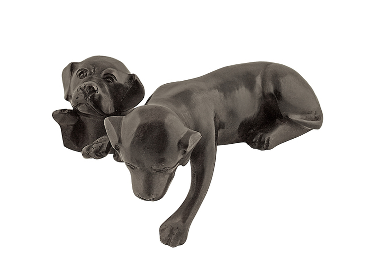 Hund, 16 cm, liggande över kant, brun, i brons
