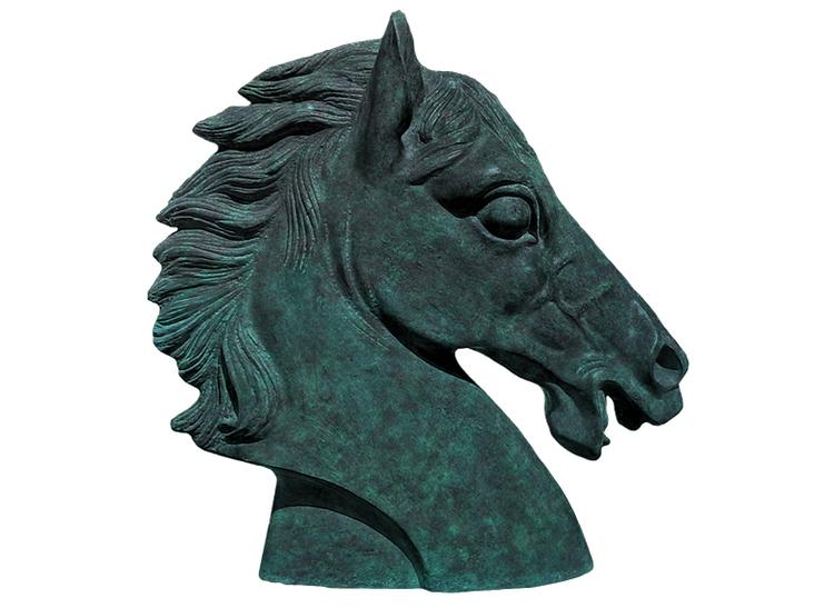 Hästhuvud i grönpatinerad aluminum 34 cm