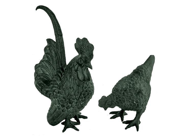 Höna + tupp, 19 cm, par, antikgrön brons