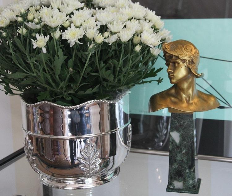 Champagnekylare/ blomkruka i försilvrad blyfri mässing från Gusums Messing