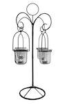Hängande fyra lanternor i bordsstativ, gjord i smide med glas