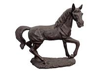 Häst i brons, 115 cm, stående på platta