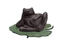 Fontän, groda, i bronss, brun, vilande hand liggande på blad