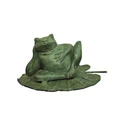 Groda, liggande på näckrosblad, i brons, 21 cm