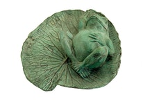 Groda på näckrosblad i brons, 35 cm