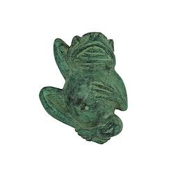 Groda, på rygg, i brons, 12 cm