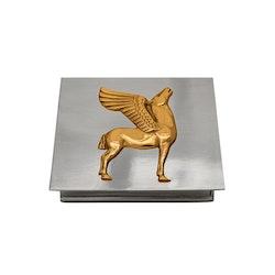 Skrin i tenn från Munka Sweden med Pegasus häst i förgyllt tenn