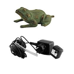 Fontänpaket med groda, sittande, 10 cm, pump, ljuskälla, slang
