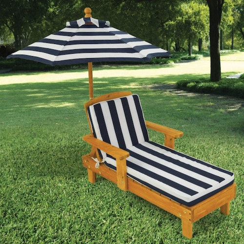 Solstol med parasoll-OUTDOOR CHAISE WITH UMBRELLA
