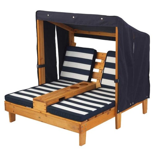 DOUBLE CHAISE LOUNGE WITH CUP HOLDERS - HONEY & NAVY