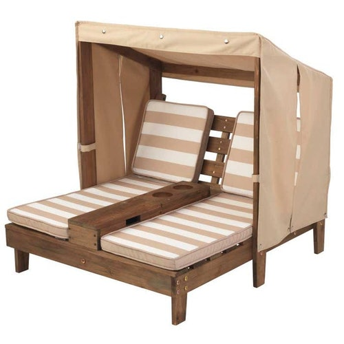 DOUBLE CHAISE LOUNGE WITH CUP HOLDERS - ESPRESSO & OATMEAL