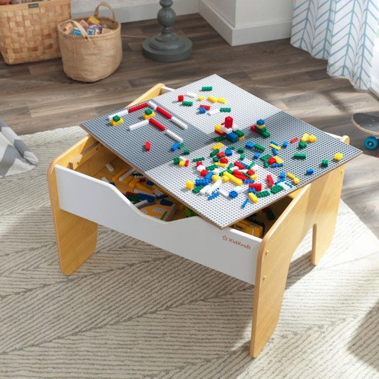 2 i 1 trätabellskivståg och byggstenar - 200 tegelstenar - kompatibla med LEGO och Brio