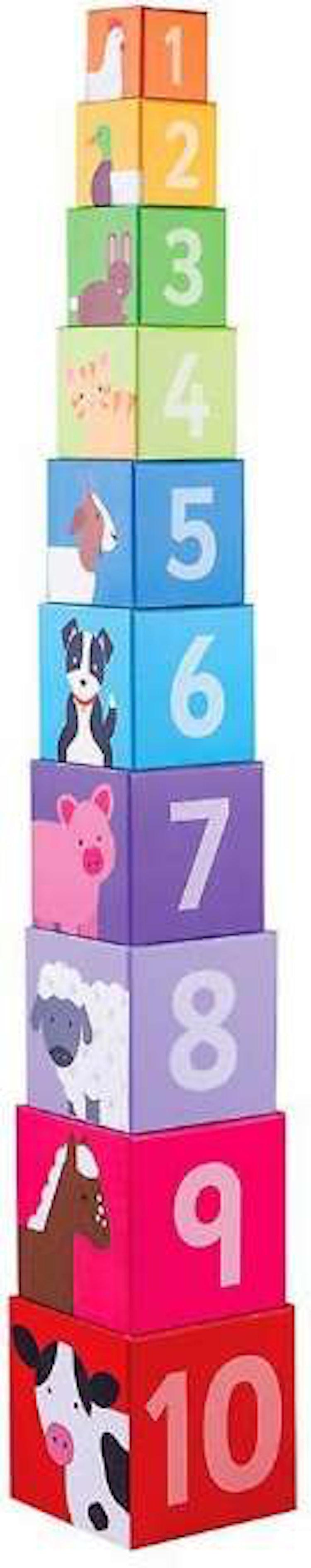 Stackblock med siffror och djur