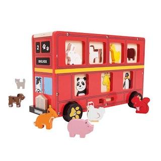 Röd sorteringsbuss med djur