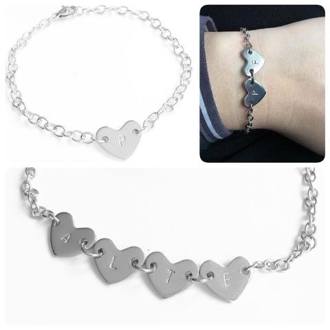 """Armband """"Meja"""" i stål med hjärt-bricka"""