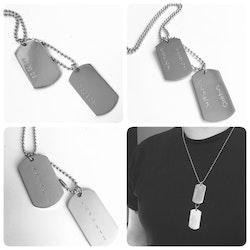 Halsband i stål med armytags