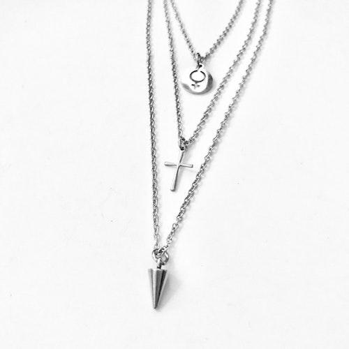3 kedjor i ett lås halsband rostfritt stål