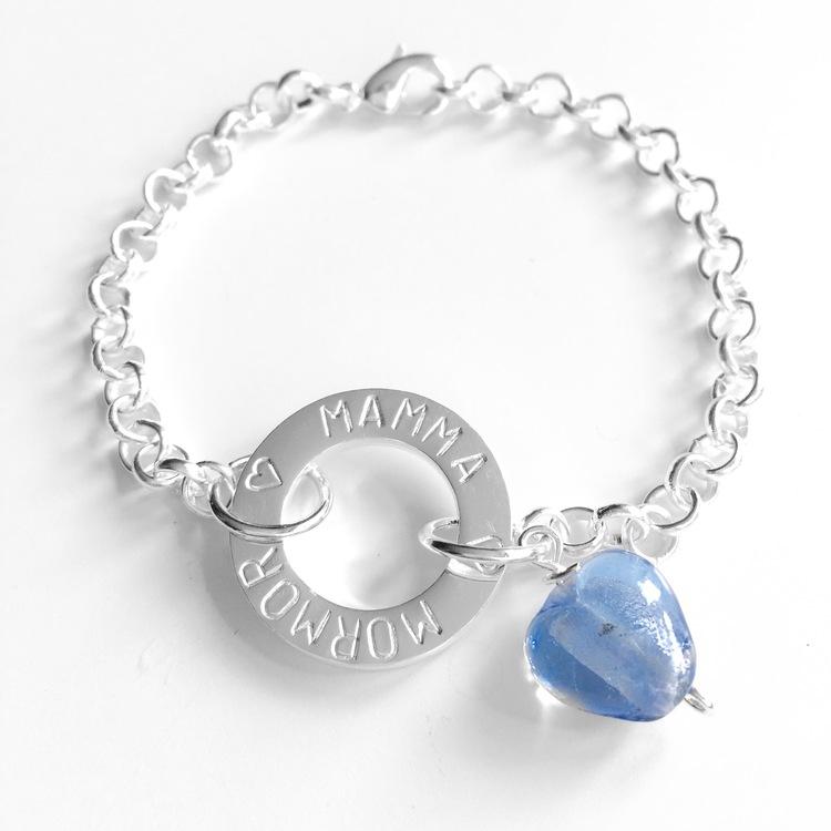 "Armband  ""Ebba"" i metall med hjärta"
