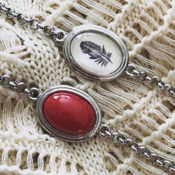 Armband i rostfritt stål med oval sten