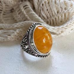 Ring med gul sten 19 mm