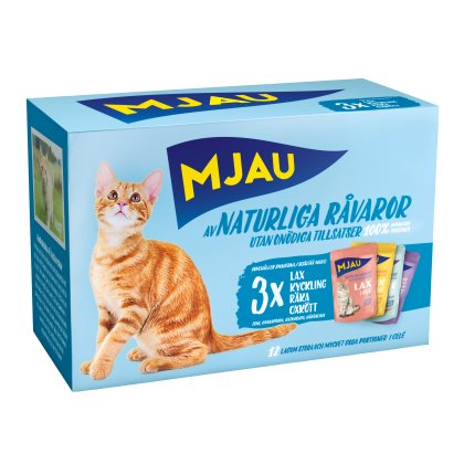Mjau, multipack kött&fisksmaker i geleṀ12*85