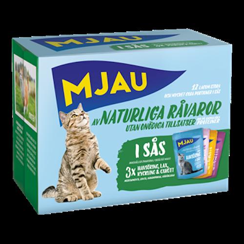 Mjau, multipack Kött- & Fisksmaker i Sås 12*85 gr 1st
