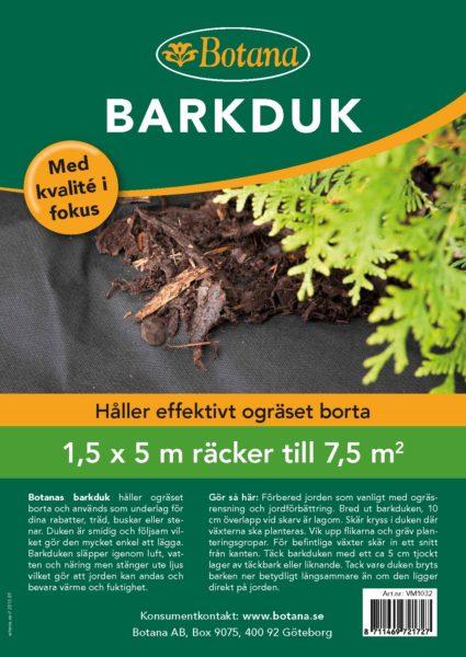 Barkduk 7,5 kvm 1,5*5 m