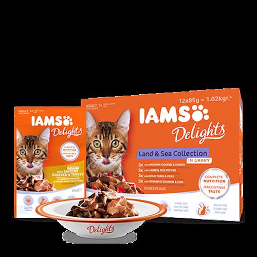 IAMS Delights Kött- och fiskkollektion i sås