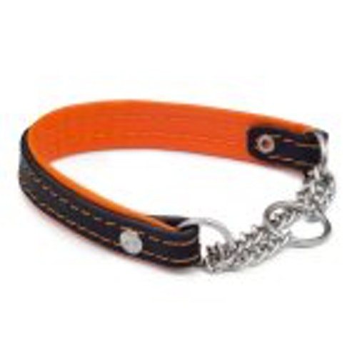 Halsband med kedja, Svart/Orange