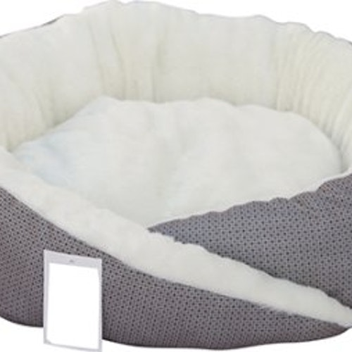 Grå/Vit hundbädd oval, olika storlekar