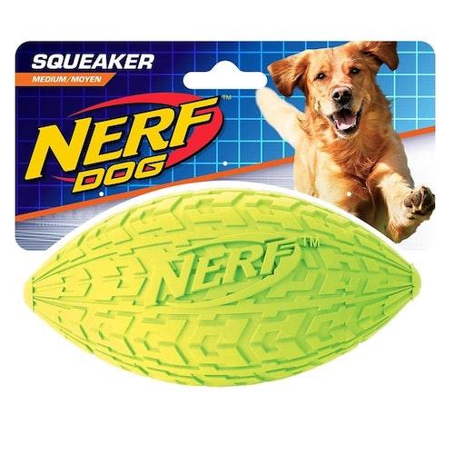 NERF TIRE SQUEAK FOOTBALL, olika storlekar.