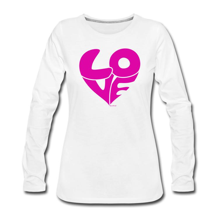 T-Shirt lång ärm LOVE vit/pink