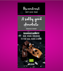 A SALTY GOOD CHOCOLATE - SOCKERFRI CHOKLAD _ RÅLAKRITS, 90 GRAM
