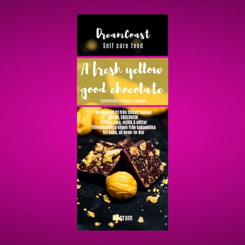 A FRESH YELLOW GOOD CHOCOLATE, SOCKERFRI - APELSIN & PHYSALIS 90 GRAM