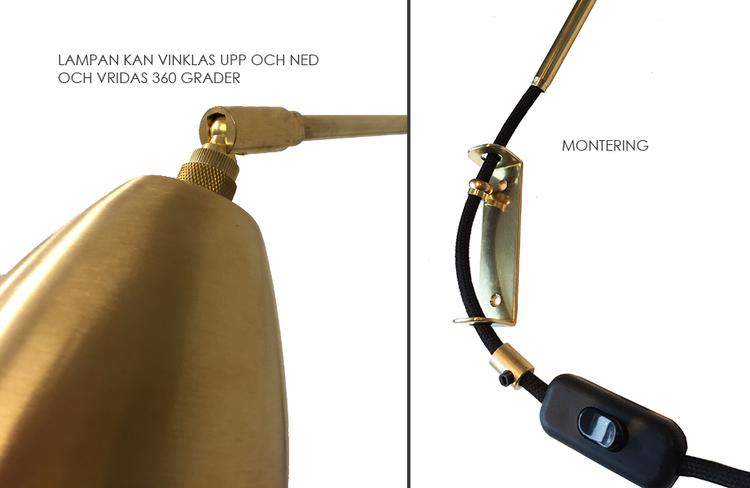 WALL3 Vägglampa i obehandlad mässing