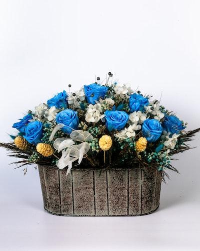 Blomkorg - Blå-Vit
